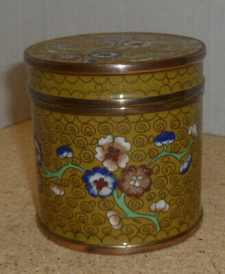 "19th C.? Chinese Cloisonne Enamel on Copper 3"" Lidded Box"