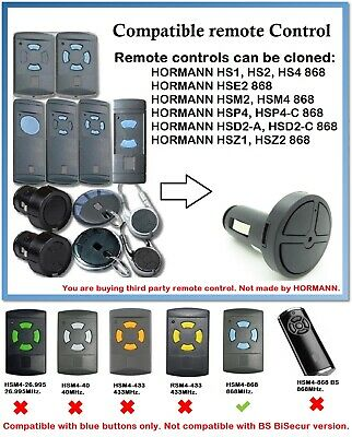 Compatible Car Lighter Remote Control with HORMANN/GARADOR (Blue buttons only)