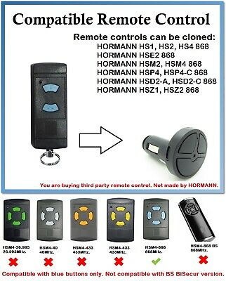 Compatible Car Lighter Remote Control with HORMANN HSE2 868 (Blue buttons only)