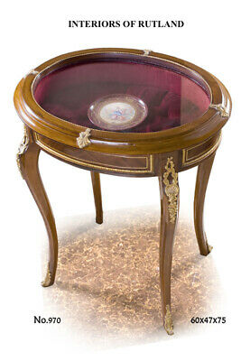 NEW Antique reproduction French Ormolu Table Glass vitrine Side Round Louis xv