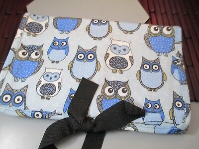 31 Thirty-One Fold n go Organizer Blue owls Retired Print no notepad