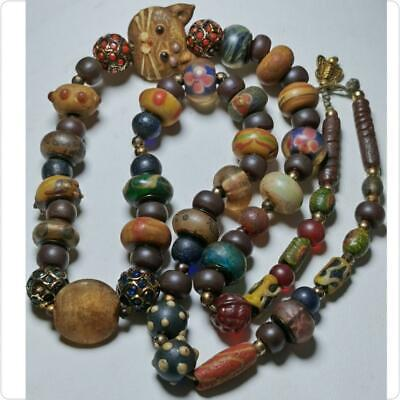 Islamic Old Mosaic Glass Wonderful mixed Beads Lovely Necklace