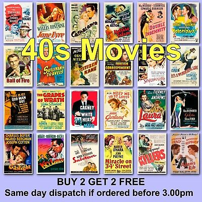 Poster Vintage Movie Posters 1940s 40s Film Poster Films HD Borderless Printing