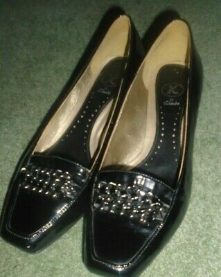 Clarks K Black Patent Leather Slip On Shoes,1.5Ins Heels,6.5
