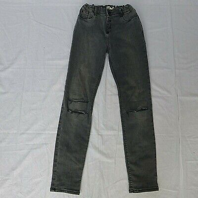 Girls River Island grey distressed ripped skinny jeans jeggings age 11 years
