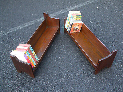 Matching pair of large antique oak book troughs, Arts & Crafts period