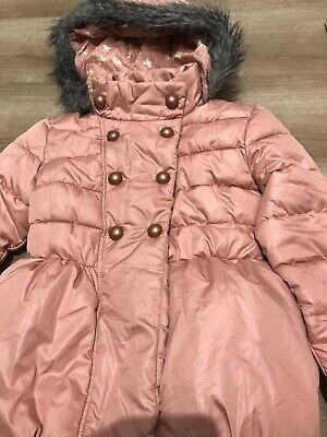 NEXT salmon pink girls hooded puffer Puffa shower resistant coat 7-8 years BNWT