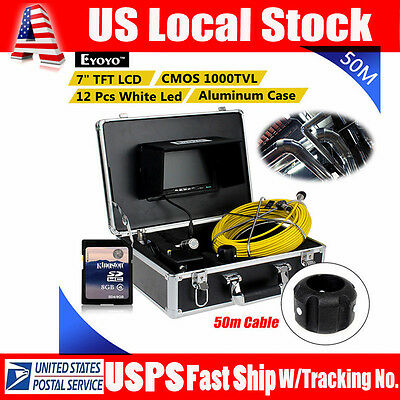 "50M Endoscope Inspection Cam 12LED 7"" LCD Monitor for Sewer Pipe Pipeline Drain"
