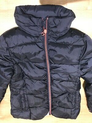NEXT blue girls puffer Puffa shower resistant coat 7-8 years BNWT concealed hood