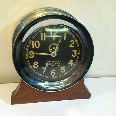 Chelsea Nickel Plated Case US Navy Mark 1 Deck Clock US Navy 1941 Mk1