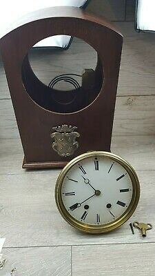 Vintage Wooden Clock Case Movement restoration Family Crest Stars fleur de lis