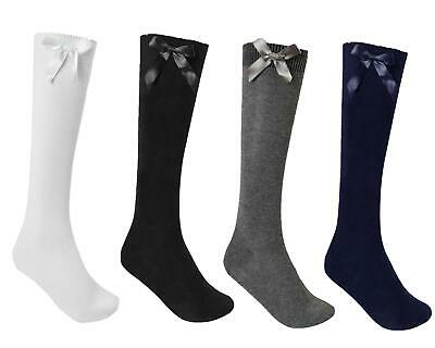 3, 6 0R 12 Pairs Girls  Cotton Rich Knee High School Socks With Bow