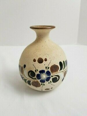 Mexican Pottery Small Stoneware Vase Floral Hand Painted Blue on Cream Pre-owned