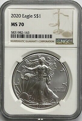 2020 $1 American Silver Eagle NGC MS70 Brown Label