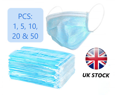 Surgical Face Mask 3-ply Anti Virus Flu Mask with Ear Loop 1,5,10,20&50 UK STOCK