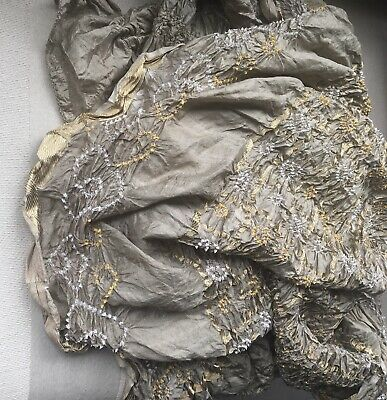 Vintage Indian Hand Made Silk Ruched Scarf Shawl Throw. 200cm Long