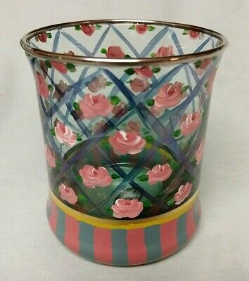 MacKenzie Childs CIRCUS ROSE ARBOR Hand Painted Old Fashioned Glass Retired
