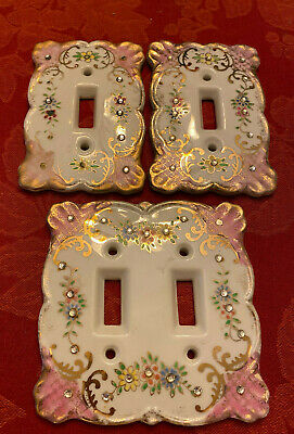 Three (3) Matching Vintage Lefton Light Switch Plates with Rhinestones