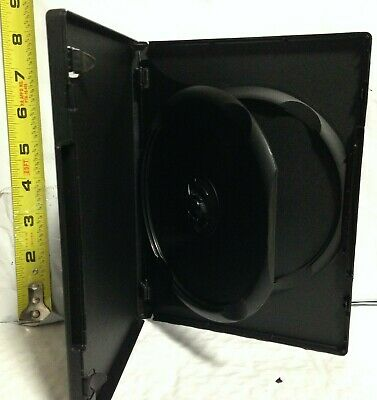 """2 Disc Black Media Case with Tray for DVD/CD/PC, New, 14mm/1/2"""",w/ Artwork Clips"""