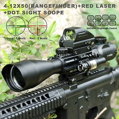 Pinty 4-12X50EG Rangefinder Reticle Riflescope Red Laser&Reflex Dot Sight Scope