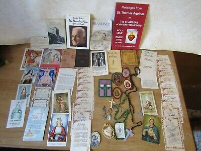 Vintage Lg Lot 50 Religious Catholic Prayer cards Medals Scapulars Cord Rosary
