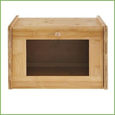 Bamboo Bread Box Window Door Tempered Glass Kitchen Countertop Storage Organizer