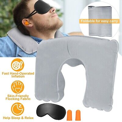 US Air Inflatable Neck Pillow Cervical Support Head Rest Office Nap Car Cushion