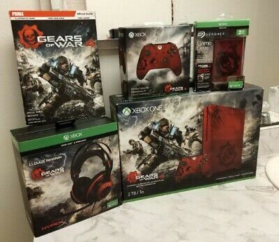Xbox One S Gears of War 4 Limited Edition Bundle 2TB Crimson Red Console
