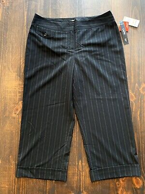 Style & Co Capri Cropped Pants Womens Black Pinstriped Stretch Career Work Sz 12