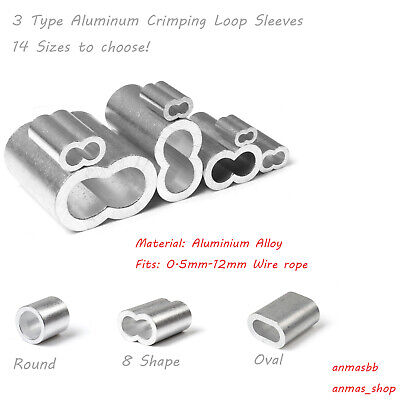 Aluminum Crimping Loop Sleeve for 0.5mm-12mm (1/50''-1/2'') Wire Rope and Cable