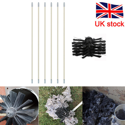 11PCS lengthened Chimney Sweep SetFlue Sweeping Brush /& Rod KitSoot Tools
