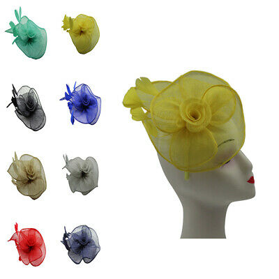 Sinamay Fascinator Flower Feathers Royal Ascot Race Headband Clip Wedding Hat UK