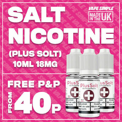 18MG Salt Nicotine Shot 10ml 70/30 VG/PG | PlusSolt+ Flavourless Salt Eliquid