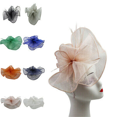 LARGE Fascinator Wedding Hat Wavy Sinamay Feathers Flower Royal Ascot Race 2020