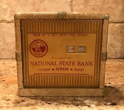 "Vintage ""National State Bank Newark NJ"" Savings Coin Bank- Banthrico Chicago IL"