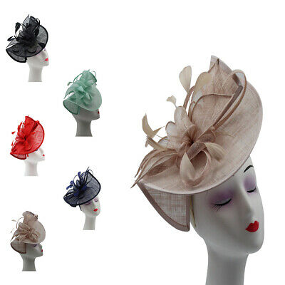 LARGE Fascinator Wedding Hat Sinamay Curve With Feathers Flower Royal Ascot Race
