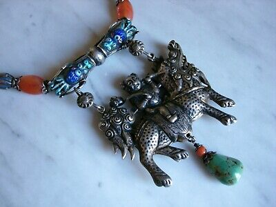 Antique Chinese Kylin Qing Dynasty Necklace White Jade Carnelian Enamel Silver