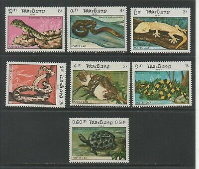 Thematic Stamps Animals - LAOS 1984 REPTILES 771/7 7v mint