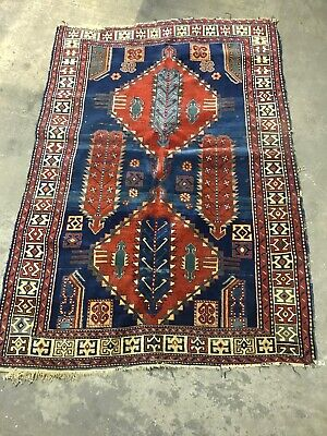 Fine Vintage Hand Made Rug Traditional Oriental Wool Red Blue Rug 200x140cm