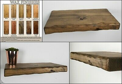 Rustic Floating Shelves Wax Finish Wooden Shelf Handmade Various Sizes Colours