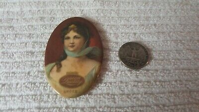 Early 1900s celluloid pocket mirror QUEEN QUALITY SHOES