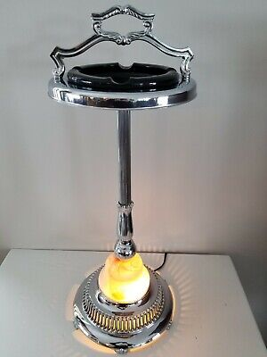 Vtg Great  Art Deco Chrome Floor Ashtray Cigar Room Lounge Smoking Stand 1950s