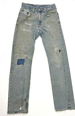 Vintage 90s Levis 505 Straight Leg Thrashed Jeans Distressed Patched Mens 31x34