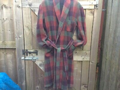 McGREGOR VINTAGE TRADITIONAL MEN WOOL BLEND CHECK PLAID DRESSING GOWN/ROBE(S/M/L