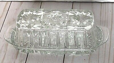 Anchor Hocking Prescut (EAPC)  or Star of David Covered GLASS 1/4#  Butter Dish