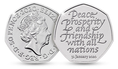 50p Pence 31 January 2020 BREXIT Peace, Prosperity & Friendship all Nations EEC