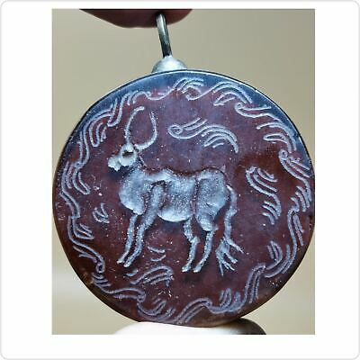 Antique Agate stone intaglio Animal Wonderful Silver Pendant   # 128