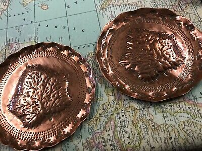 Pair of (NEWLYN) ?? ARTS & CRAFTS HAMMERED COPPER 170 mm Dishes/trays