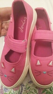 Joules GIrls Pink Fun Day Pumps UK 1 Cat Faces On Toes VGC RRP £24.95