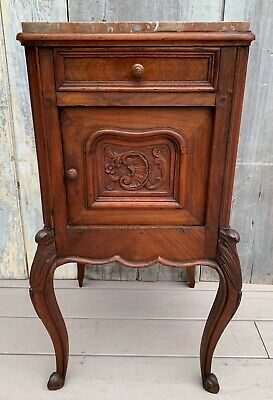 Antique French Louis XV Walnut Rose Marble Side Table Nightstand Cabinet c. 1860